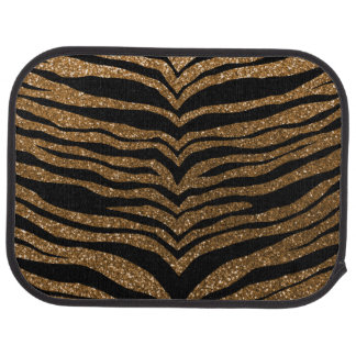 Gold glitter tiger stripes car floor mat