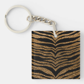 Gold glitter tiger stripes Single-Sided square acrylic keychain
