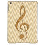 Gold Glitter Treble Clef on Yellow Chevron iPad Air Cover