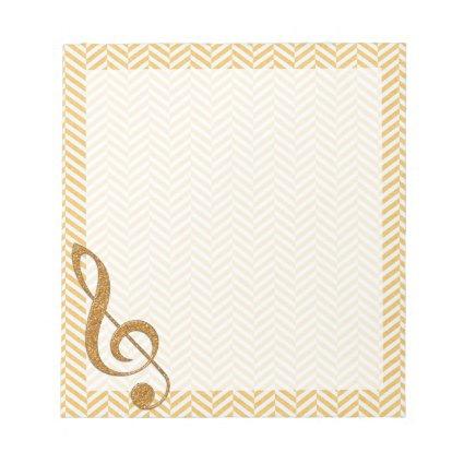 Gold Glitter Treble Clef on Yellow Chevron Memo Note Pad