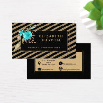 gold glitter turquoise Floral business card
