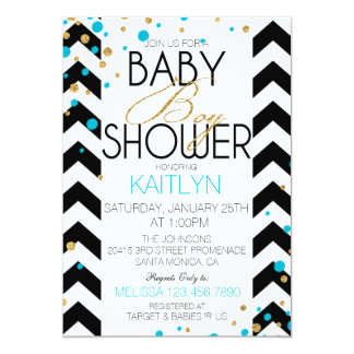 Gold Glitter Turquoise Sprinkles Baby Shower Card