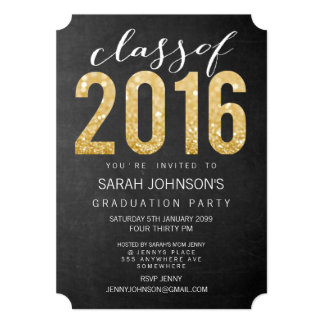 Gold Glitter Typography Class of 2016 Party Invite