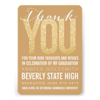 Gold Glitter Typography Graduation Thank You Card