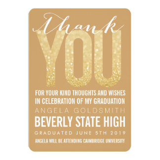 Gold Glitter Typography Graduation Thank You Card Invitations
