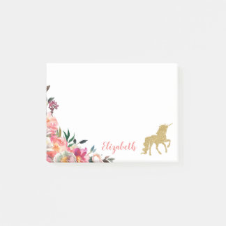 Gold Glitter Unicorn | Floral Personalized Name Post-it Notes