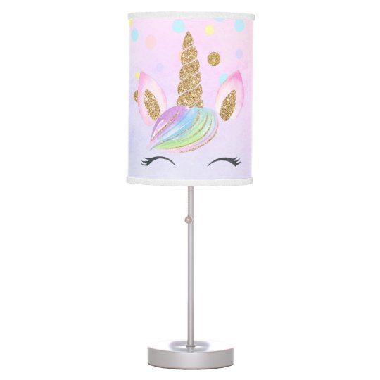 Gold Glitter Unicorn Personalized Nursery Rainbow Table Lamp
