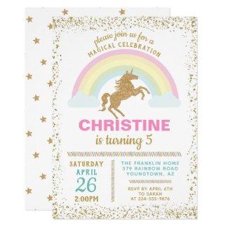 Gold Glitter Unicorn Rainbow Birthday Invitation