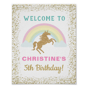 Gold Glitter Unicorn Rainbow Birthday Welcome Sign f87a2afd3ba90