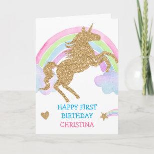Gold Glitter Unicorn Rainbow Girl Birthday Card