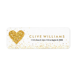 Gold Glitter Valentines Heart Illustration Label