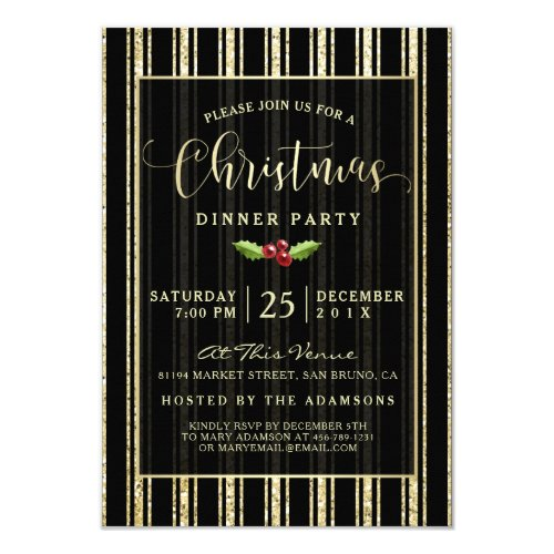 Gold Glitter Vertical Pinstripes Christmas Party Invitation