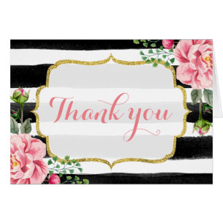 Gold Glitter Watercolor Floral Stripes Thank You