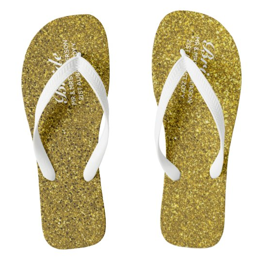 ac9736748ee Gold Glitter Wedding Flipflops BRIDE