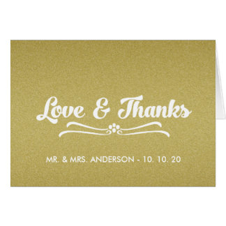 Gold Glitter Wedding Love and Thanks Folded Card