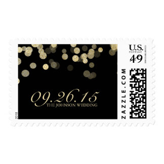 Gold Glitter Wedding Postage Stamps