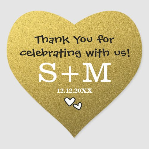 Gold Glitter Wedding Thank You Monogram Heart Heart Sticker
