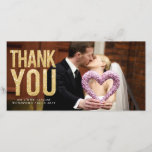 """Gold Glitter Wedding Thank You Photo Cards<br><div class=""""desc"""">Affordable quality designer full bleed thank you photo cards that will look like you hired a graphic designer to create them but will pay a fraction of the cost. Just personalize yourself online and add your own wedding/engagement/family photo portrait to create your own thank you card. Each comes with the...</div>"""