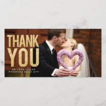 Gold Glitter Wedding Thank You Photo Cards