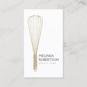 Gold Glitter Whisk Bakery Business Card