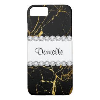 Gold Glitter White Diamonds Beautiful Black Marble iPhone 8/7 Case
