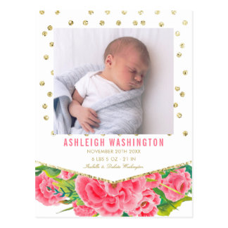 Gold Glitter & White | Floral Birth Announcement Postcard