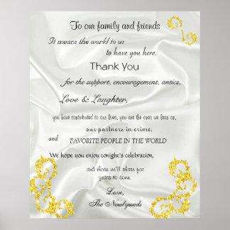 Gold Glitter, White Satin, Wedding Welcome, Poster
