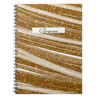 Gold Glitter White Sparkle Chic Glamour Notebook