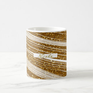 Gold Glitter White Sparkle Glamour Coffee Mug