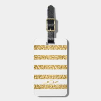 Gold Glitter White Stripes Pattern Monogram Bag Tag
