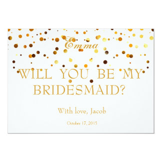 Gold Glitter Will You Be My Bridesmaid Invitation