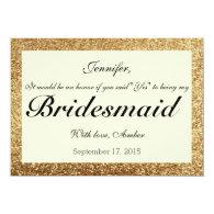 Gold Glitter Bridesmaids Invitations