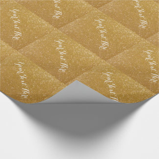 Gold glitter wrapping paper with chic typography