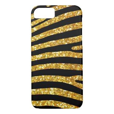 Beach Themed Gold Glitter Zebra Case