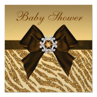 Gold Glitter Zebra Print & Bling Baby Shower Custom Invite