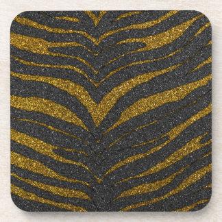 Gold Glitter Zebra Stripes Beverage Coaster