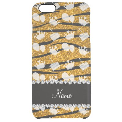 Gold glitter zebra stripes birthday cake balloon clear iPhone 6 plus case