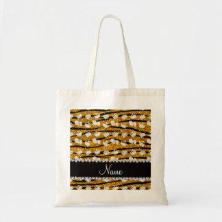 Gold glitter zebra stripes birthday cake balloon tote bag