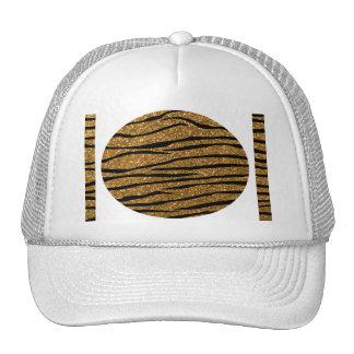 Gold glitter zebra stripes mesh hat