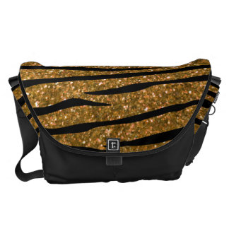 Gold glitter zebra stripes messenger bag