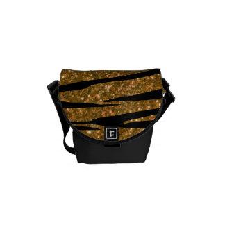 Gold glitter zebra stripes messenger bags