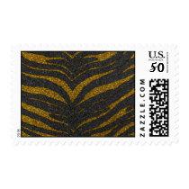 Gold Glitter Zebra Stripes Postage