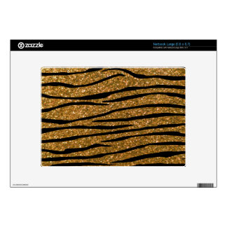 Gold glitter zebra stripes decal for large netbook