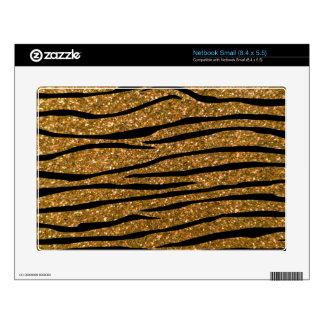 Gold glitter zebra stripes small netbook decal