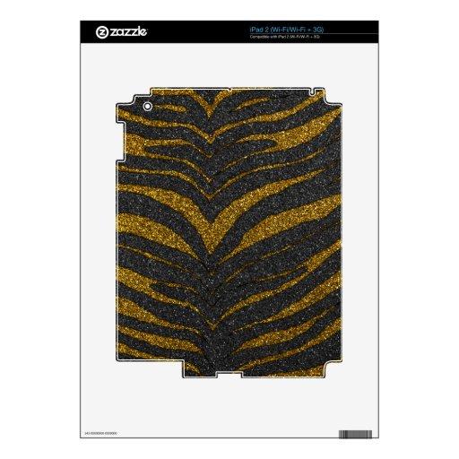Gold Glitter Zebra Stripes Skin For The iPad 2