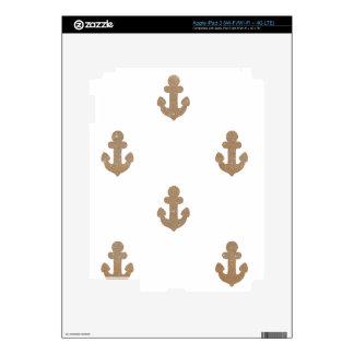 Gold glittering anchors iPad 3 skins