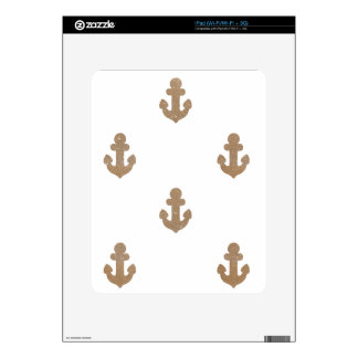 Gold glittering anchors iPad skins