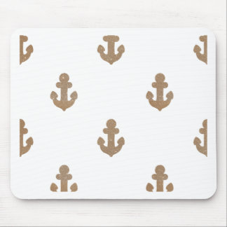 Gold glittering anchors mouse pad