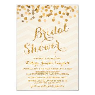 """Gold Glittering Confetti Bridal Shower Invite 4.5"""" X 6.25"""" Invitation Card"""