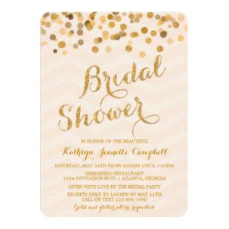 """Gold Glittering Confetti Bridal Shower Invite 5"""" X 7"""" Invitation Card"""